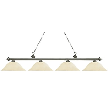 Z-Lite – Luminaire Riviera argenté antique pour îlot/table de billard 200-4AS-GM16, 4 ampoules, verre marbré or