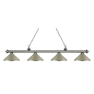 Z-Lite – Luminaire Riviera argenté antique pour îlot/table de billard 200-4AS-MAS, 4 ampoules, métal argenté antique