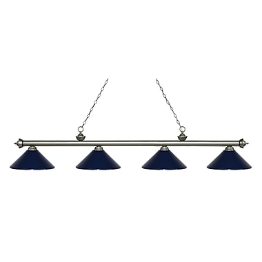 Z-Lite – Luminaire Riviera argenté antique pour îlot/table de billard 200-4AS-MNB, 4 ampoules, métal bleu marine