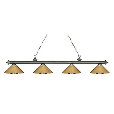 Z-Lite – Luminaire Riviera argenté antique pour îlot/table de billard 200-4AS-MPB, 4 ampoules, métal laiton poli