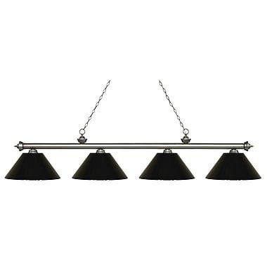 Z-Lite – Luminaire Riviera argenté antique pour îlot/table de billard 200-4AS-PBK, 4 ampoules, plastique noir