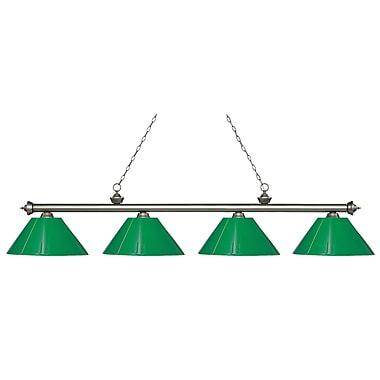 Z-Lite – Luminaire Riviera argenté antique pour îlot/table de billard 200-4AS-PGR, 4 ampoules, plastique vert