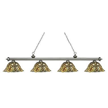 Z-Lite – Luminaire Riviera argenté antique pour îlot/table de billard 200-4AS-R14A, 4 ampoules, verre Tiffany multicolore