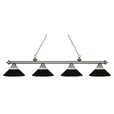 Z-Lite – Luminaire Riviera argenté antique pour îlot/billard 200-4AS-RMB, 4 ampoules, verre trans. strié/métal et verre noir mat