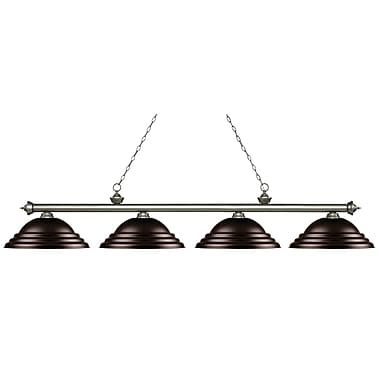 Z-Lite 200-4AS-SBRZ Riviera Antique Silver Island/Billiard, 4 Bulb, Stepped Bronze Metal