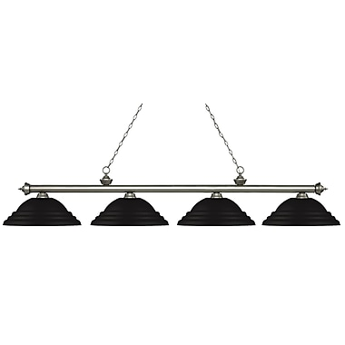 Z-Lite 200-4AS-SMB Riviera Antique Silver Island/Billiard, 4 Bulb, Stepped Matte Black Metal