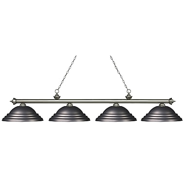 Z-Lite 200-4AS-SOB Riviera Antique Silver Island/Billiard, 4 Bulb, Stepped Olde Bronze Metal