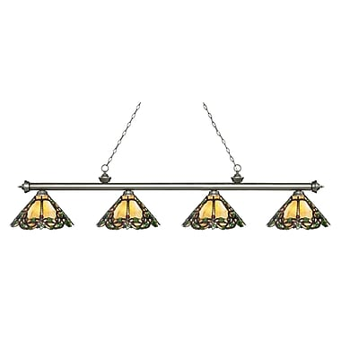 Z-Lite – Luminaire Riviera argenté antique pour îlot/table de billard 200-4AS-Z14-37, 4 ampoules, verre Tiffany multicolore