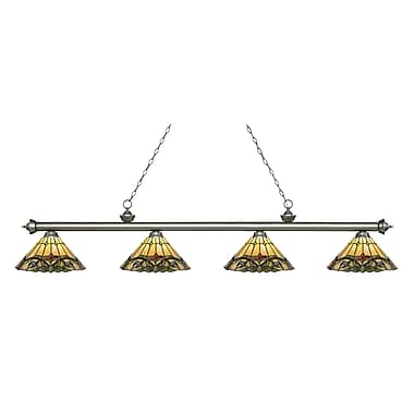 Z-Lite – Luminaire Riviera argenté antique pour îlot/table de billard 200-4AS-Z14-49, 4 ampoules, verre Tiffany multicolore