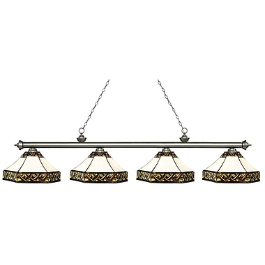 Z-Lite – Luminaire Riviera argenté antique pour îlot/table de billard 200-4AS-Z16-30, 4 ampoules, verre Tiffany multicolore