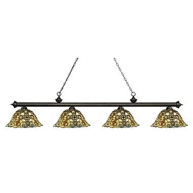 Z-Lite – Luminaire Riviera au fini bronze doré pour îlot/table de billard 200-4GB-R14A, 4 ampoules, verre Tiffany multicolore