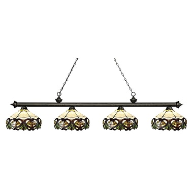 Z-Lite 200-4GB-Z14-33 Riviera Golden Bronze Island/Billiard, 4 Bulb, Multi-Coloured Tiffany Glass