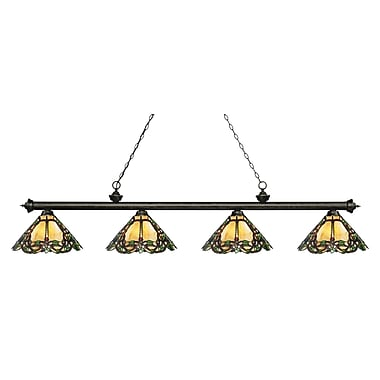 Z-Lite 200-4GB-Z14-37 Riviera Golden Bronze Island/Billiard, 4 Bulb, Multi-Coloured Tiffany Glass