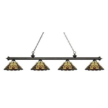 Z-Lite – Luminaire Riviera au fini bronze doré pour îlot/table de billard 200-4GB-Z14-46, 4 ampoules, verre Tiffany multicolore
