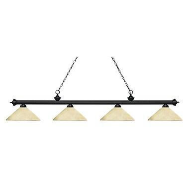 Z-Lite – Luminaire Riviera au fini noir mat pour îlot/table de billard 200-4MB-AGM14, 4 ampoules, verre angulaire marbré or