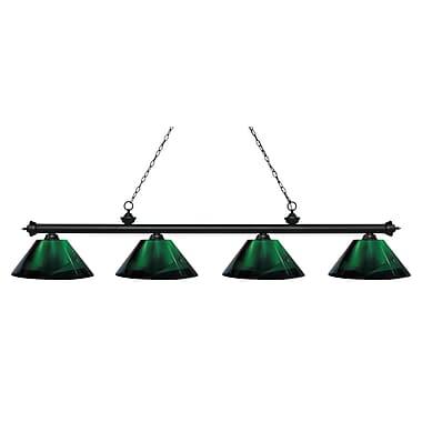 Z-Lite – Luminaire Riviera au fini noir mat pour îlot/table de billard 200-4MB-ARG, 4 ampoules, acrylique vert