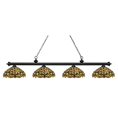 Z-Lite 200-4MB-C14 Riviera Matte Black Island/Billiard, 4 Bulb, Multi-Coloured Tiffany Glass