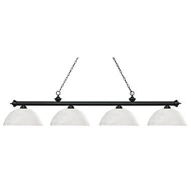 Z-Lite – Luminaire Riviera au fini noir mat pour îlot/table de billard 200-4MB-DWL14, 4 ampoules, dôme, verre lin blanc