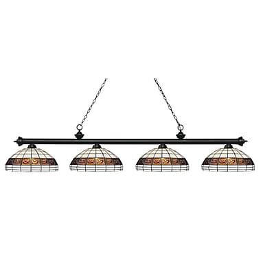 Z-Lite – Luminaire Riviera au fini noir mat pour îlot/table de billard 200-4MB-F14-1, 4 ampoules, verre Tiffany multicolore