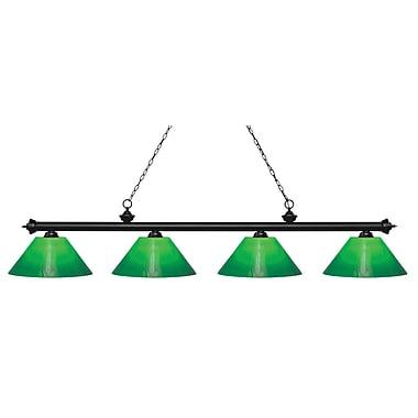 Z-Lite – Luminaire Riviera au fini noir mat pour îlot/table de billard 200-4MB-GCG14, 4 ampoules, boîtier en verre vert