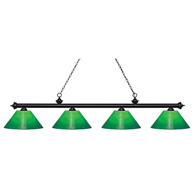 Z-Lite 200-4MB-GCG14 Riviera Matte Black Island/Billiard, 4 Bulb, Green Cased Glass