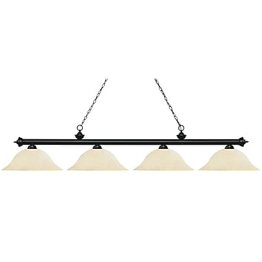 Z-Lite 200-4MB-GM16 Riviera Matte Black Island/Billiard, 4 Bulb, Golden Mottle Glass
