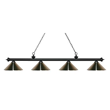 Z-Lite – Luminaire Riviera au fini noir mat pour îlot/table de billard 200-4MB-MBN, 4 ampoules, nickel métallique brossé