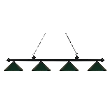 Z-Lite 200-4MB-MDG Riviera Matte Black Island/Billiard, 4 Bulb, Dark Green Metal