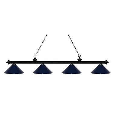 Z-Lite – Luminaire Riviera au fini noir mat pour îlot/table de billard 200-4MB-MNB, 4 ampoules, métal bleu marine