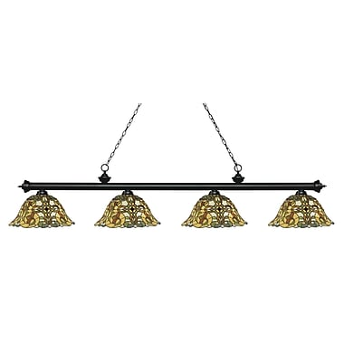 Z-Lite 200-4MB-R14A Riviera Matte Black Island/Billiard, 4 Bulb, Multi-Coloured Tiffany Glass