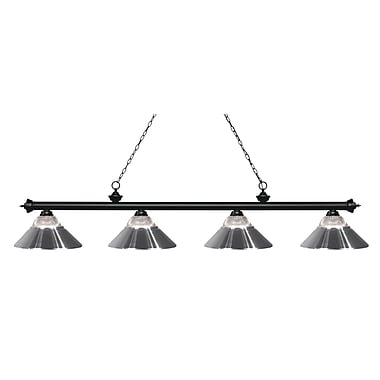 Z-Lite 200-4MB-RCH Riviera Matte Black Island/Billiard, 4 Bulb, Clear Ribbed Glass & Chrome Both Glass & Metal