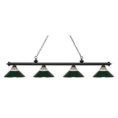 Z-Lite 200-4MB-RDG Riviera Matte Black Island/Billiard, 4 Bulb, Clear Ribbed Glass & Dark Green Both Glass & Metal