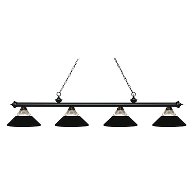 Z-Lite 200-4MB-RMB Riviera Matte Black Island/Billiard, 4 Bulb, Clear Ribbed Glass & Matte Black Both Glass & Metal