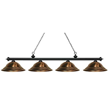 Z-Lite – Luminaire Riviera au fini noir mat pour îlot/table de billard 200-4MB-SAC, 4 amp., cuivre métallique rustique à relief