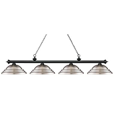 Z-Lite 200-4MB-SBN Riviera Matte Black Island/Billiard, 4 Bulb, Stepped Brushed Nickel Metal