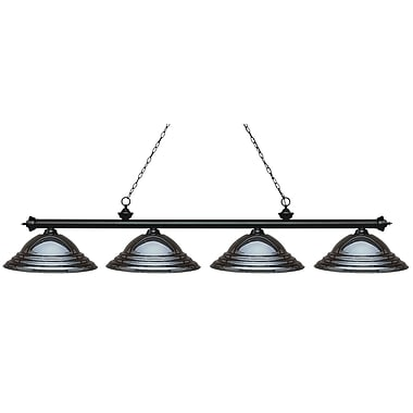 Z-Lite 200-4MB-SGM Riviera Matte Black Island/Billiard, 4 Bulb, Stepped Gun Metal