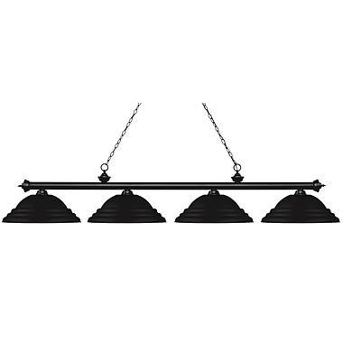 Z-Lite 200-4MB-SMB Riviera Matte Black Island/Billiard, 4 Bulb, Stepped Matte Black Metal