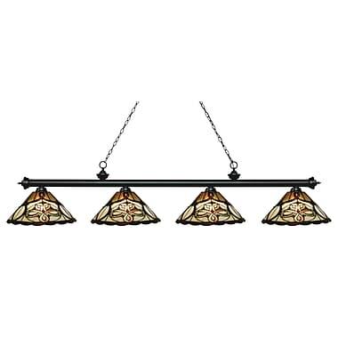 Z-Lite – Luminaire pour îlot/billard Riviera au fini noir mat 200-4MB-Z14-10, 4 amp., verre Tiffany multicolore