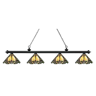 Z-Lite 200-4MB-Z14-37 Riviera Matte Black Island/Billiard, 4 Bulb, Multi-Coloured Tiffany Glass