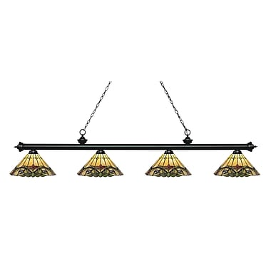 Z-Lite 200-4MB-Z14-49 Riviera Matte Black Island/Billiard, 4 Bulb, Multi-Coloured Tiffany Glass