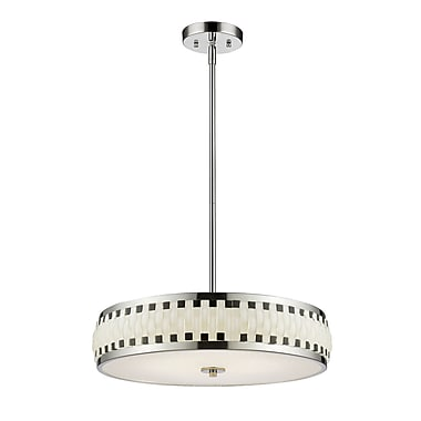 Z-Lite 2008-19CH-LED Sevier Pendant, 6 Modules Bulb, Black and White Glass