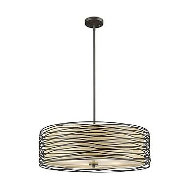 Z-Lite – Lampe suspendue Zinnia 2009-24BRZ, 4 ampoules, tissu crème