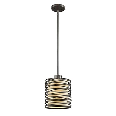 Z-Lite 2009MP-BRZ Zinnia Mini Pendant, 1 Bulb, Creme Fabric