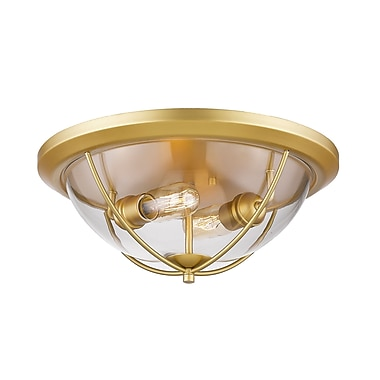 Z-Lite 3000F2-SG Persis Flush Mount, 2 Bulb, Clear Glass