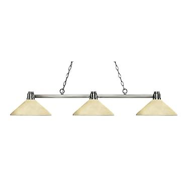 Z-Lite 314BN-AGM14 Park Brushed Nickel Island/Billiard, 3 Bulb, Angle Golden Mottle Glass