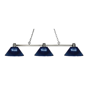 Z-Lite 314BN-ARDB Park Brushed Nickel Island/Billiard, 3 Bulb, Dark Blue Acrylic