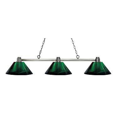 Z-Lite 314BN-ARG Park Brushed Nickel Island/Billiard, 3 Bulb, Green Acrylic