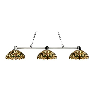 Z-Lite 314BN-C14 Park Brushed Nickel Island/Billiard, 3 Bulb, Multi-Coloured Tiffany Glass