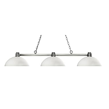 Z-Lite 314BN-DMO14 Park Brushed Nickel Island/Billiard, 3 Bulb, Dome Matte Opal Glass
