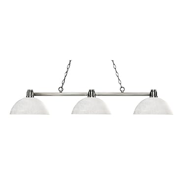 Z-Lite 314BN-DWL14 Park Brushed Nickel Island/Billiard, 3 Bulb, Dome White Linen Glass